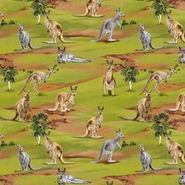 Cotton-Fabric-kangaroo-australiana