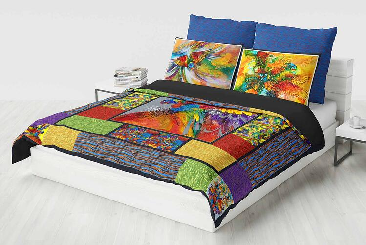 Perspective Bed Quilt Lorikeets Aloft (small)